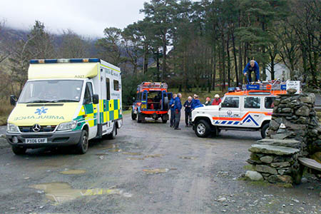 Cockermouth Mountain Rescue Team members at the scene. Photo: Cockermouth MRT