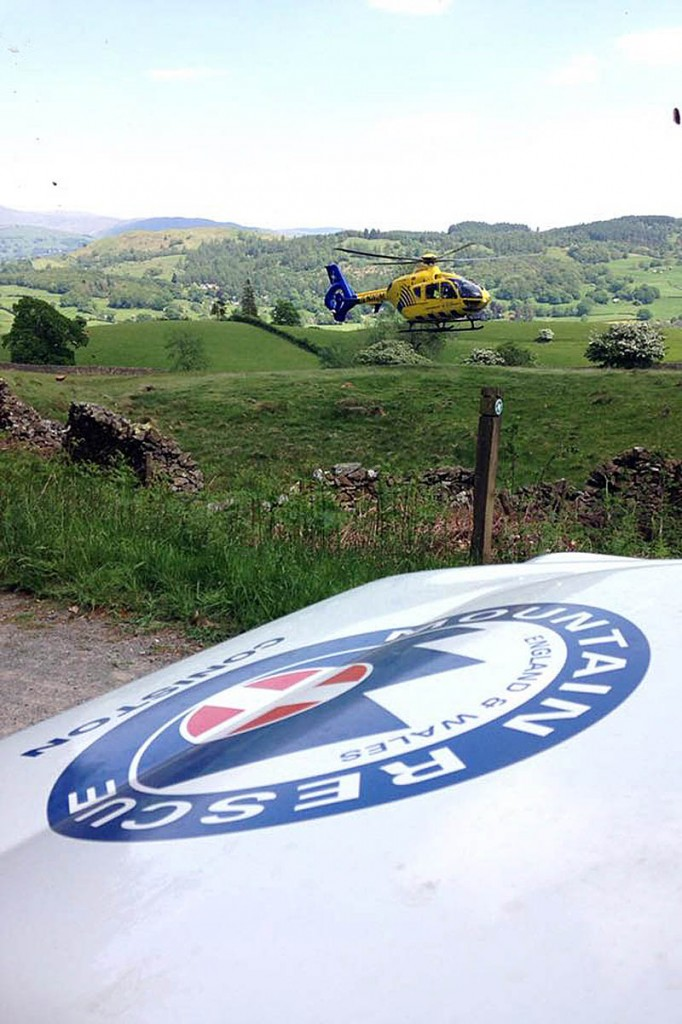 The North West Air Ambulance and Coniston team vehicle at the scene. Photo: Coniston MRT