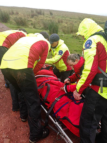 Rescuers at work during the incident on Corn Du. Photo: Brecon MRT