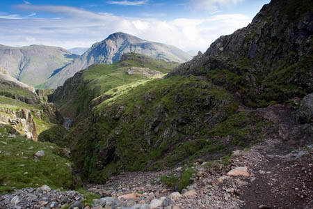 The Corridor Route links Sty Head with the route to Scafell Pike's summit