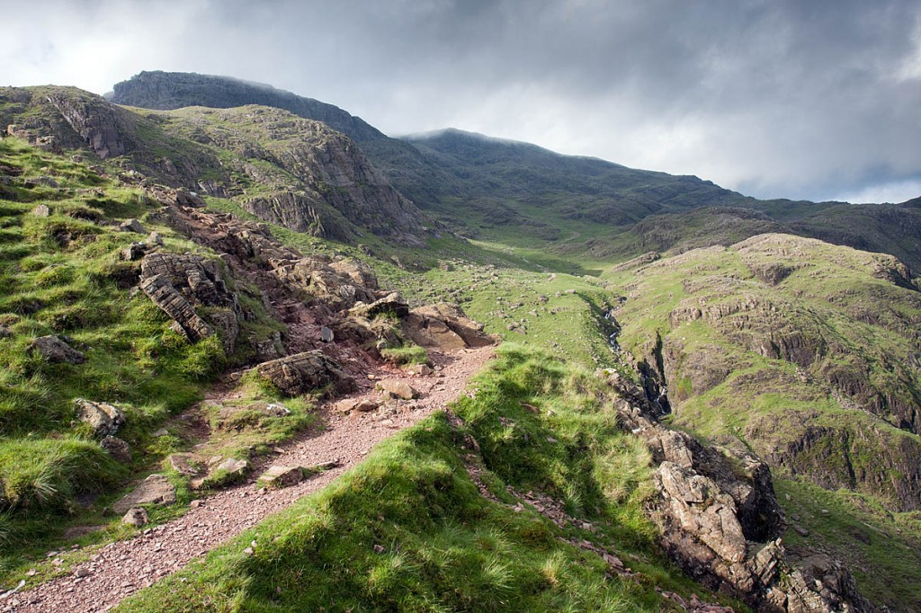 The walker fell close to the Corridor Route which leads to Scafell Pike