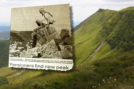 A newspaper cutting showing Bill Wright on the mountain. Main photo: Myrddyn Phillips