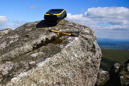 The Trimble GeoXH 6000 perched on the very highest point of Y Berwyn. Photo: Myrddyn Phillips