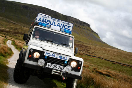 One of the team's rescue vehicles on the slopes of Pen-y-ghent