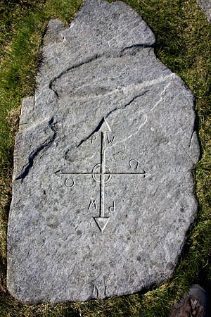 Look for the carved stone with directions at Crowdundle Head