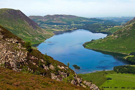 The walker got stuck on a ledge overlooking Crummock Water. Photo: Richard Webb CC-BY-SA-2.0