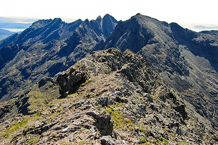 The Cuillin ridge in summer, with Coire na Banachdich to the right. Photo: John Allan CC-BY-SA-2.0