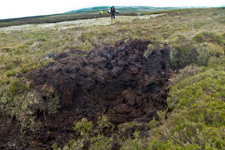 The crater left after the controlled explosion near the Cut Gate path