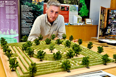 Mr Ellis with a model of the planned maze
