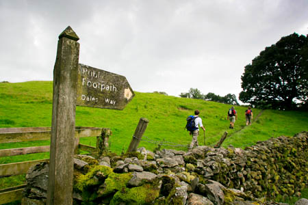 Walkers near the end of the Dales Way