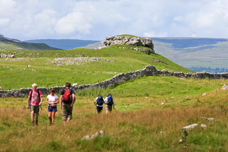 Walkers on the Dales Way in Wharfedale
