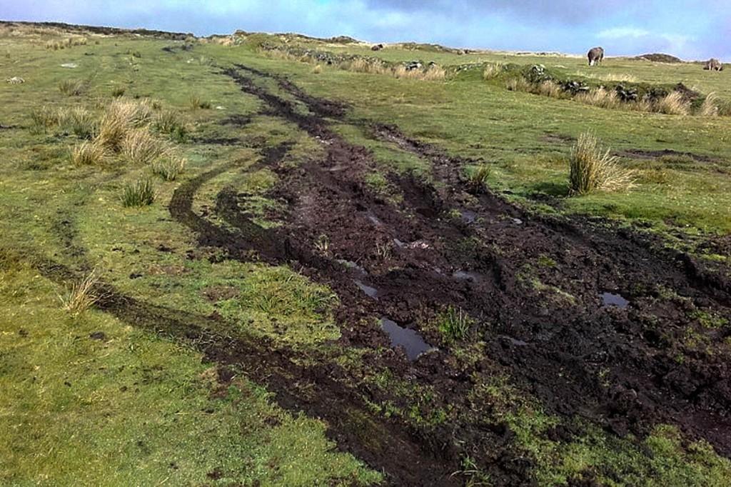 Damage caused by off-road vehicles on Dartmoor. Photo: Dartmoor NPA