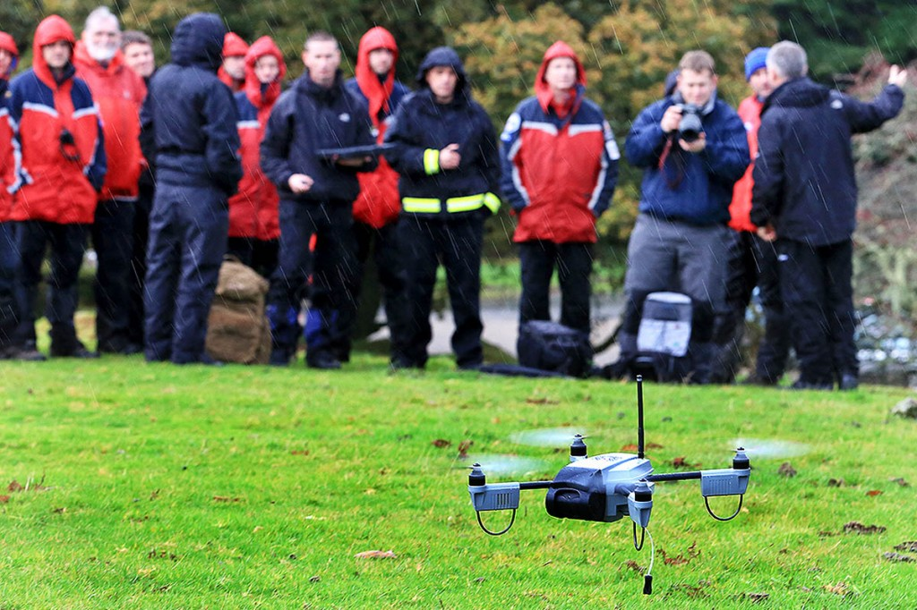 The drone is put through its paces in front of the team and local emergency services, earlier this month.Photo: Roger Hyde/DSRTP