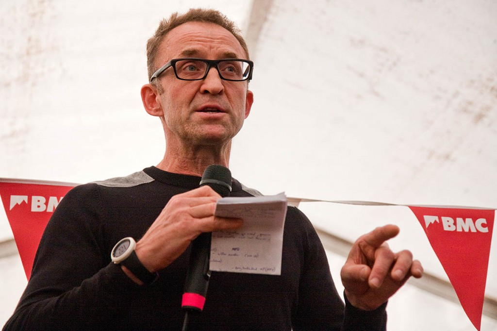 Dave Turnbull makes his point at Kendal Mountain Festival