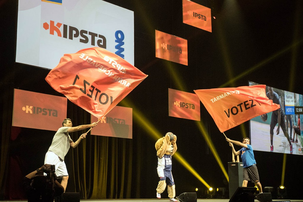 The Decathlon presentations open with the Kipsta team's flags and lion costume