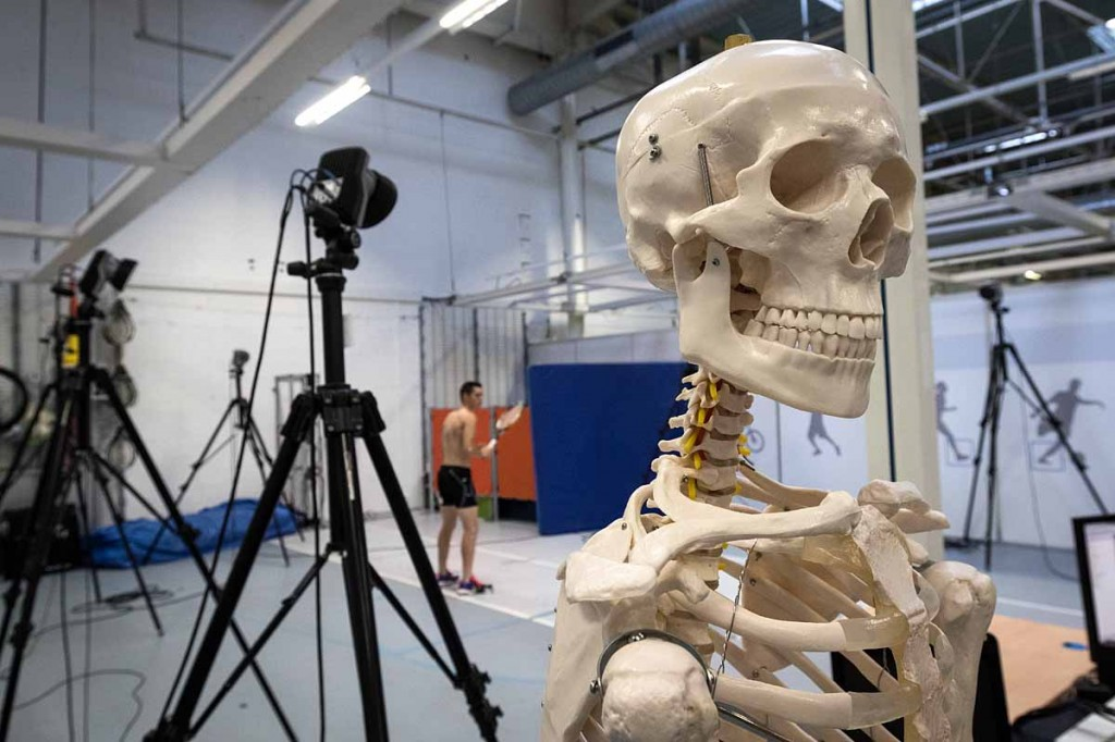 Smile for the camera: a volunteer employee produces an animation for tennis moves in the Campus labs