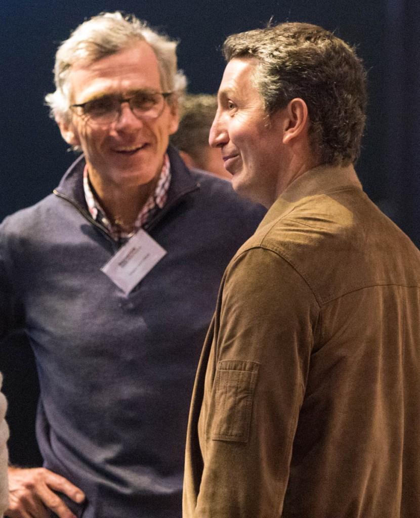 Decathlon chief executive Michel Aballea, right