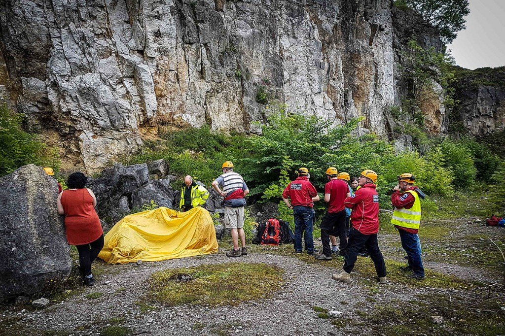 Rescuers at the scene of the incident in the quarry. Photo: Derby MRT