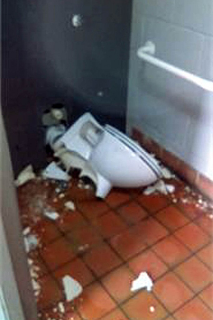 The vandalised toilet. Photo: Derbyshire Constabulary