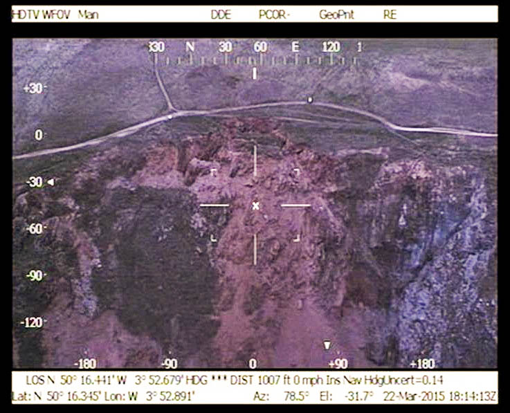 A helicopter view of the landslip. Photo: Devon and Cornwall Police