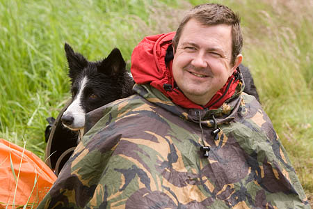 Dogsbody Peter Stott with one of the Sarda dogs in the North York Moors
