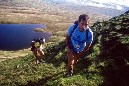 Martin Stone and Helene Diamantides tackle the Black Mountains during the 1992 race. Photo: Rob Howard www.sleepmonsters.com