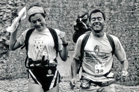 Helene Diamantides and Martin Stone cross the line in 1992. Photo: Rob Howard www.sleepmonsters.com