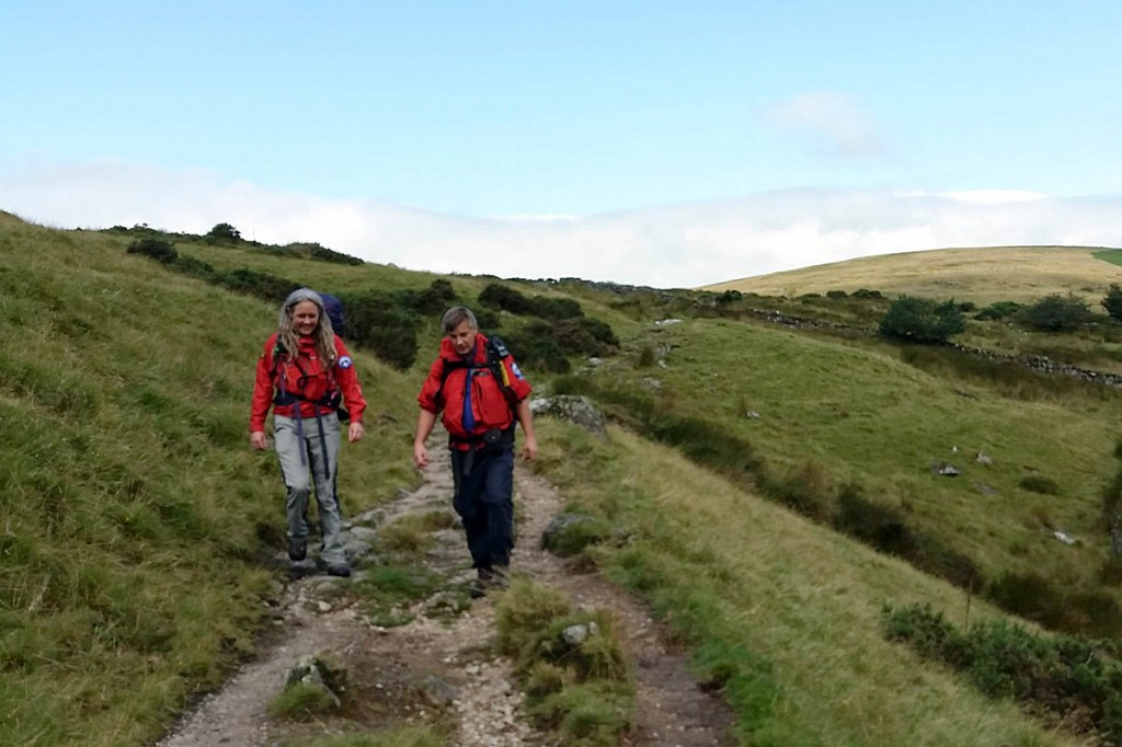 Ashburton team members return to Postbridge after the lost walkers had been located. Photo: DSR Ashburton