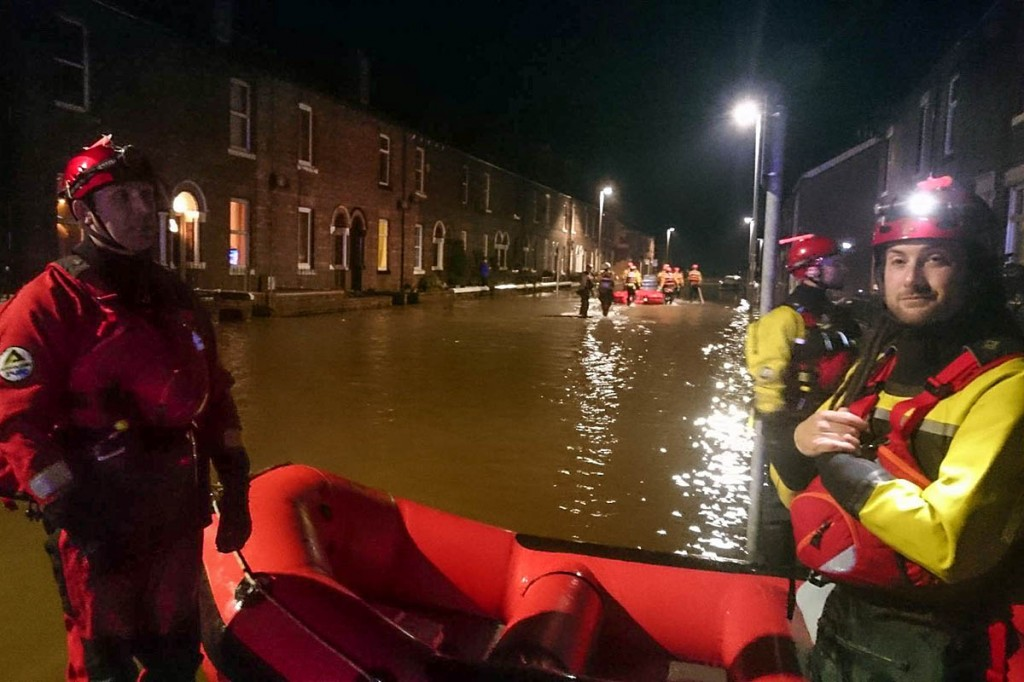 Duddon and Furness team members in action during the Cumbria floods. Photo: Duddon and Furness MRT