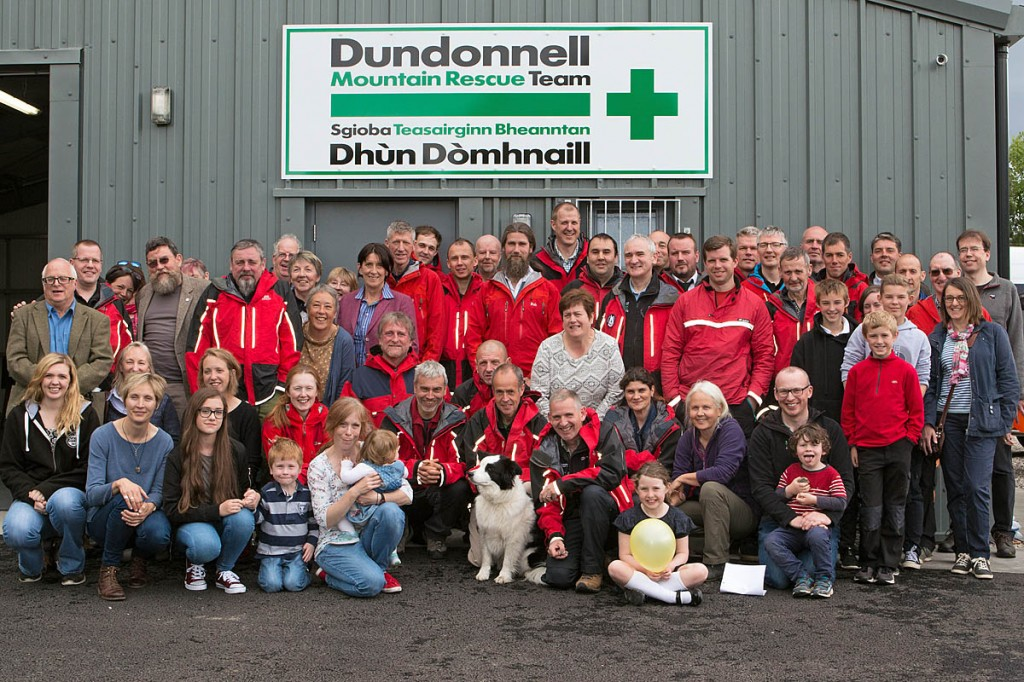 Mr Whalley, left, joins team members, friends and family at the official opening. Photo: Angus Mackie/Scotland360