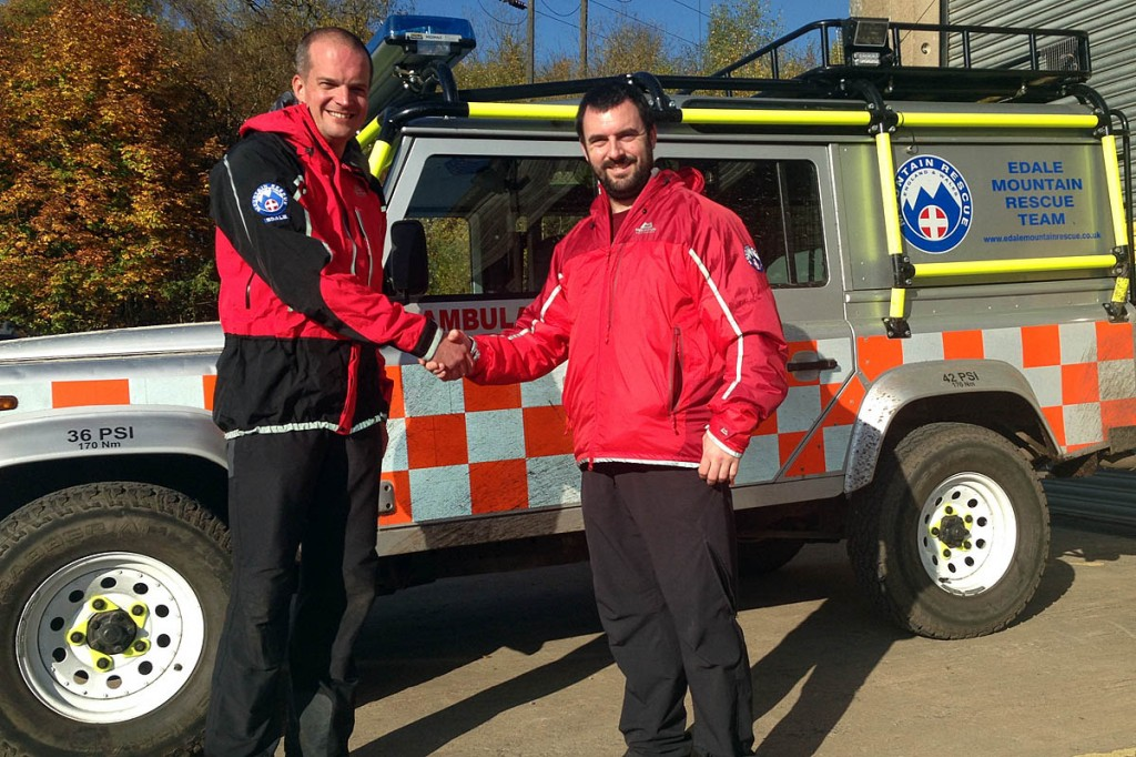 Mark Whittaker is welcomed into the team as a full member. Photo: Edale MRT