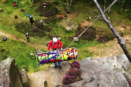 Rescuers in action at the Millstone Edge incident. Photo: Edale MRT