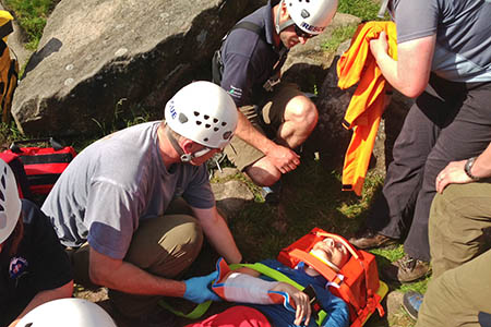 Edale Mountain Rescue Team at work during the rescue at Birchen Edge. Photo: Edale MRT