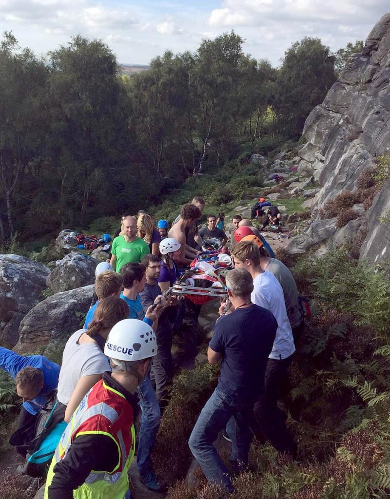 Edale rescuers at the scene at Birchen Edge. Photo: Edale MRT