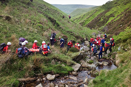 The scene at the Blackden Brook rescue. Photo: Edale MRT