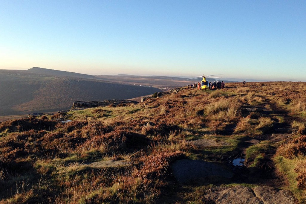 The scene during the rescue at Burbage Edge. Photo: Edale MRT