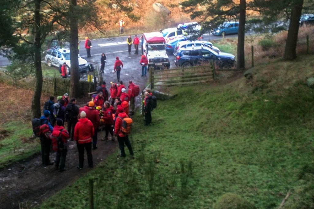 Members of the Edale and Derby teams at the site near Cutthroat Bridge. Photo: Edale MRT