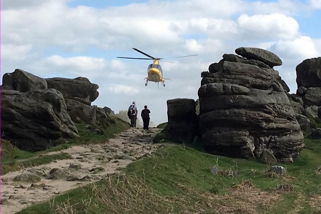 The air ambulance at the scene at Froggatt Edge. Photo: Edale MRT