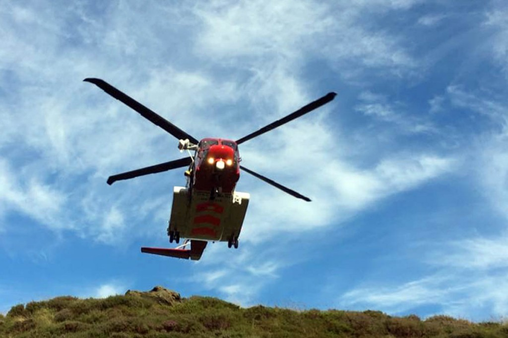 The Coastguard Sikorsky S-92 at the scene on Kinder Scout. Photo: Edale MRT