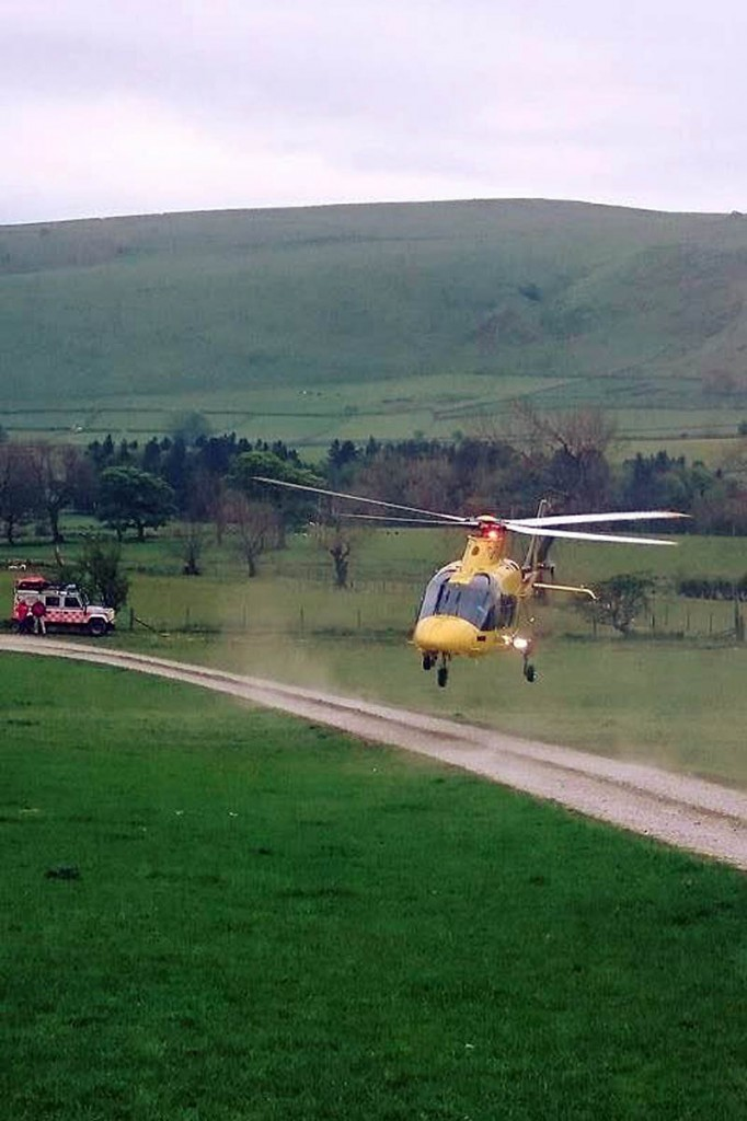 The air ambulance in action during the Hollins Cross rescue. Photo: Edale MRT