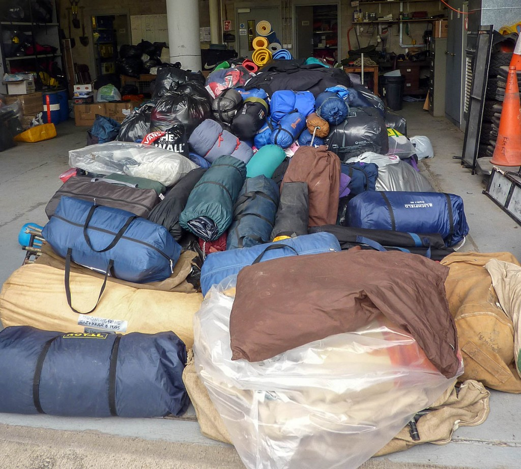 Some of the gear donated to the Edale MRT appeal for Nepal earthquake victims. Photo: Edale MRT