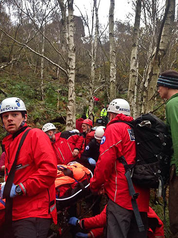 The injured climber is stretchered from Rivelin Edge. Photo: Edale MRT