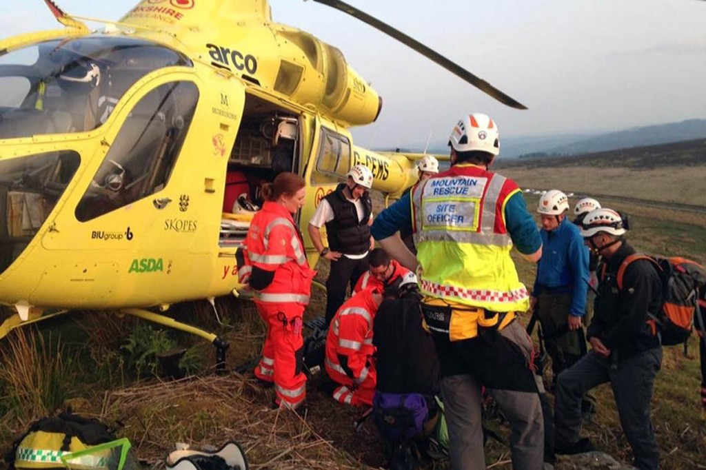 The Yorkshire Air Ambulance flew the injured climber to hospital. Photo: Edale MRT