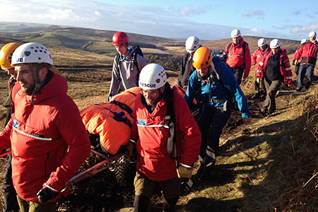 The Edale team stretcher Johnny Dawes from Stanage after his February fall. Photo: Edale MRT