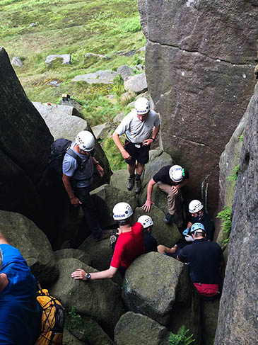Edale team members at the scene of the climber's fall. Photo: Edale MRT