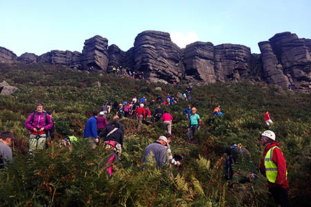 Climbers help rescuers after a woman and her uncle were seriously injured in a fall on Stanage Edge. Photo: Edale MRT