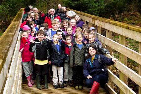 Schoolchildren join in the official opening of the bridge in Ennerdale