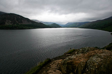 The walking group was able to make its own way down to the lakeshore in Ennerdale