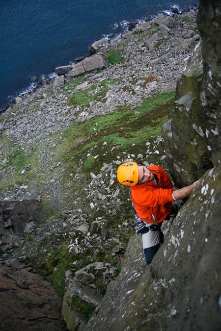 A climber on E4 Track of the Cat E4 at Fair Head. Photo: Neal McQuaid