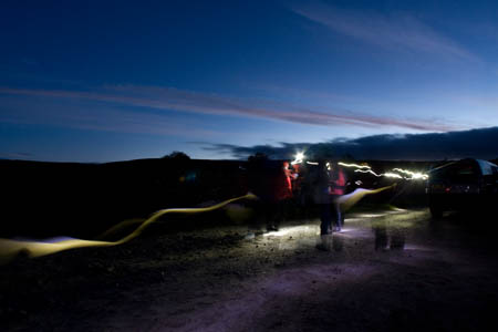 Competitors' headtorches light up Yarnbury checkpoint as dawn starts to break